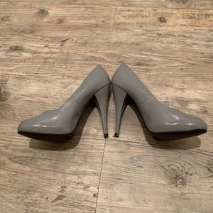 Grey Patent Leather Heels